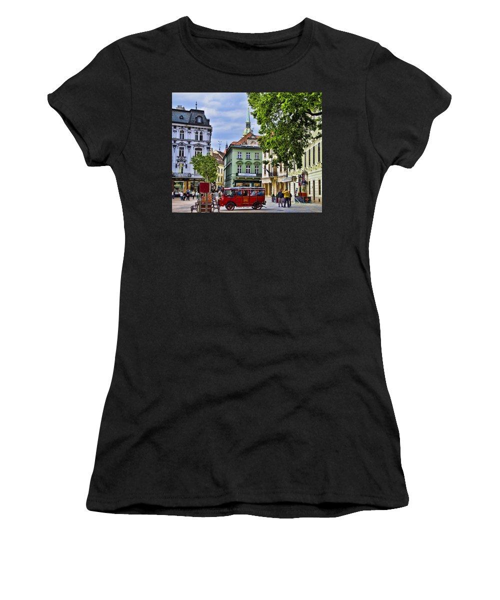 Bratislava Slovakia Women's T-Shirt featuring the photograph Bratislava Town Square by Jon Berghoff