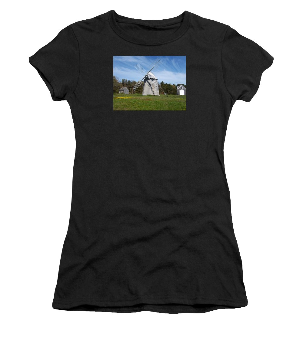 Brewster Women's T-Shirt (Athletic Fit) featuring the photograph Brewster Windmill by Catherine Gagne