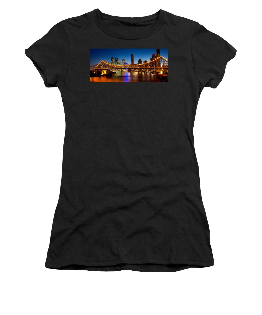 Photography Women's T-Shirt featuring the photograph Bridge Across A River, Story Bridge by Panoramic Images