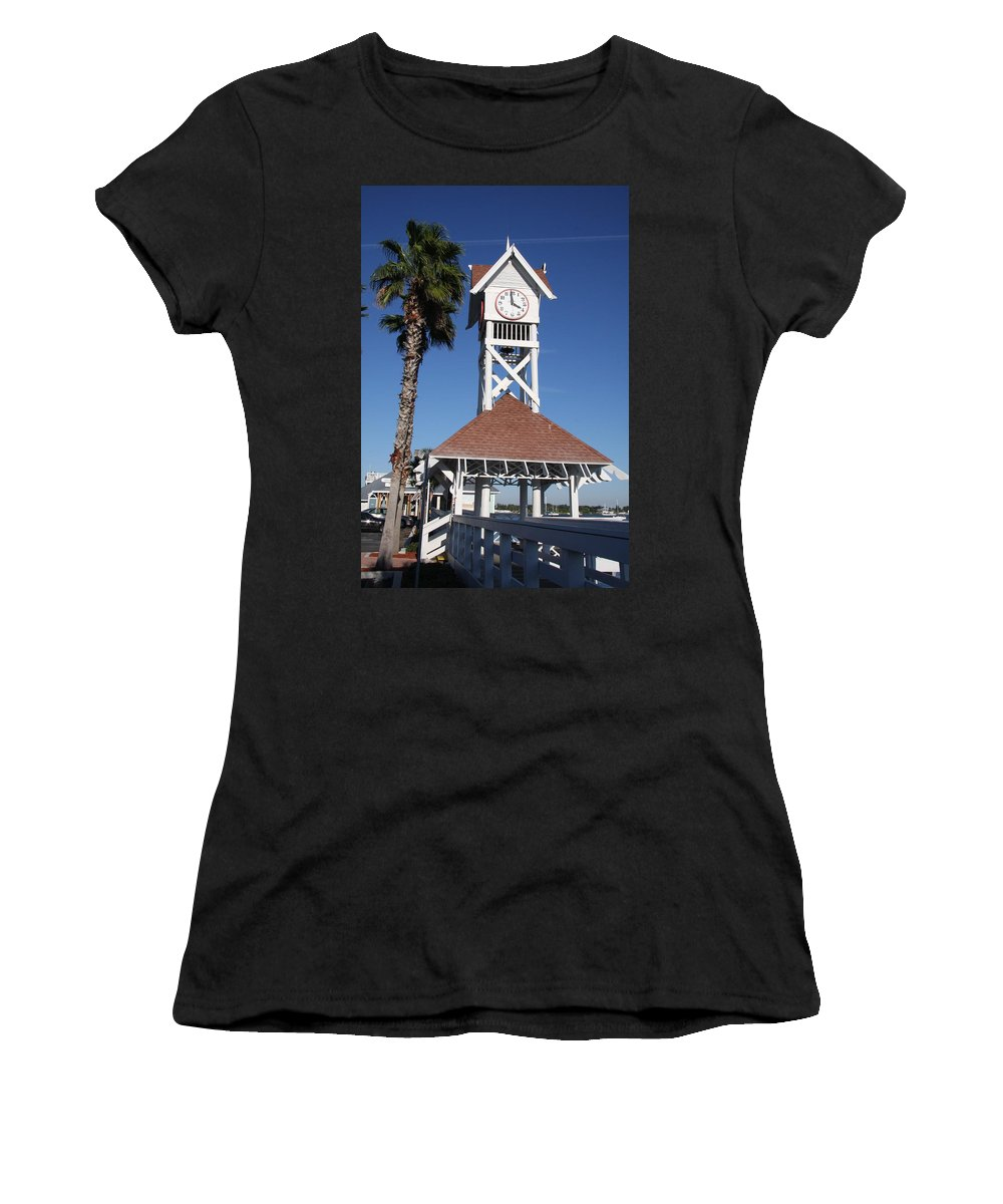 Pier Women's T-Shirt (Athletic Fit) featuring the photograph Bridge Street Pier And Clocktower by Christiane Schulze Art And Photography