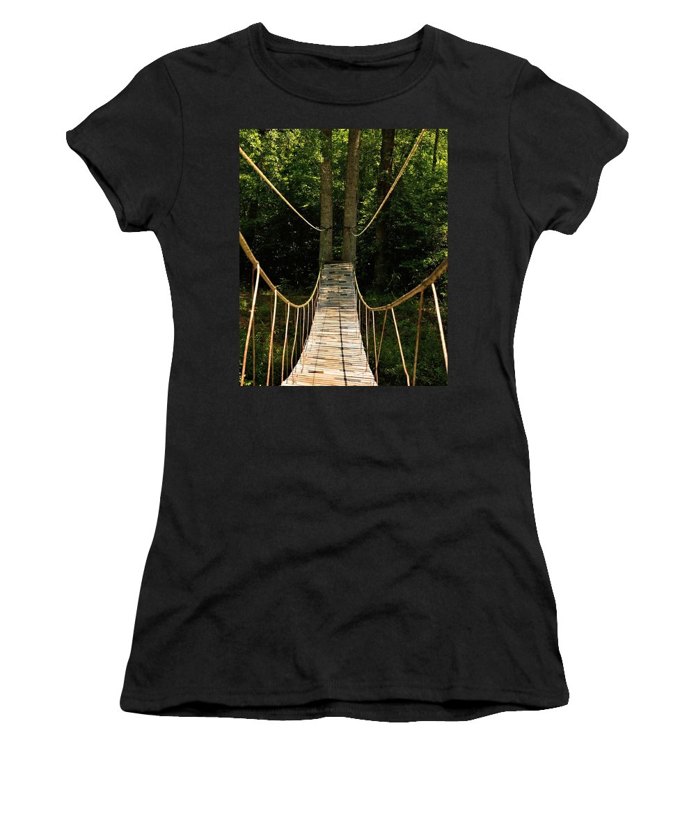 Bridge To The Forest Women's T-Shirt featuring the photograph Bridge To The Forest by Maria Urso