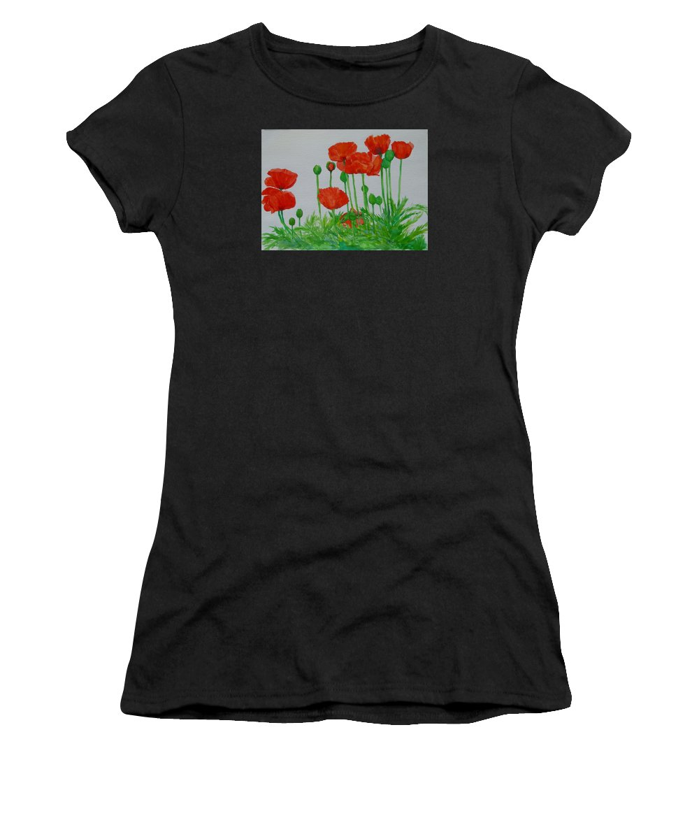 Red Poppies Women's T-Shirt featuring the painting Red Poppies Colorful Flowers Original Art Painting Floral Garden Decor Artist K Joann Russell by K Joann Russell