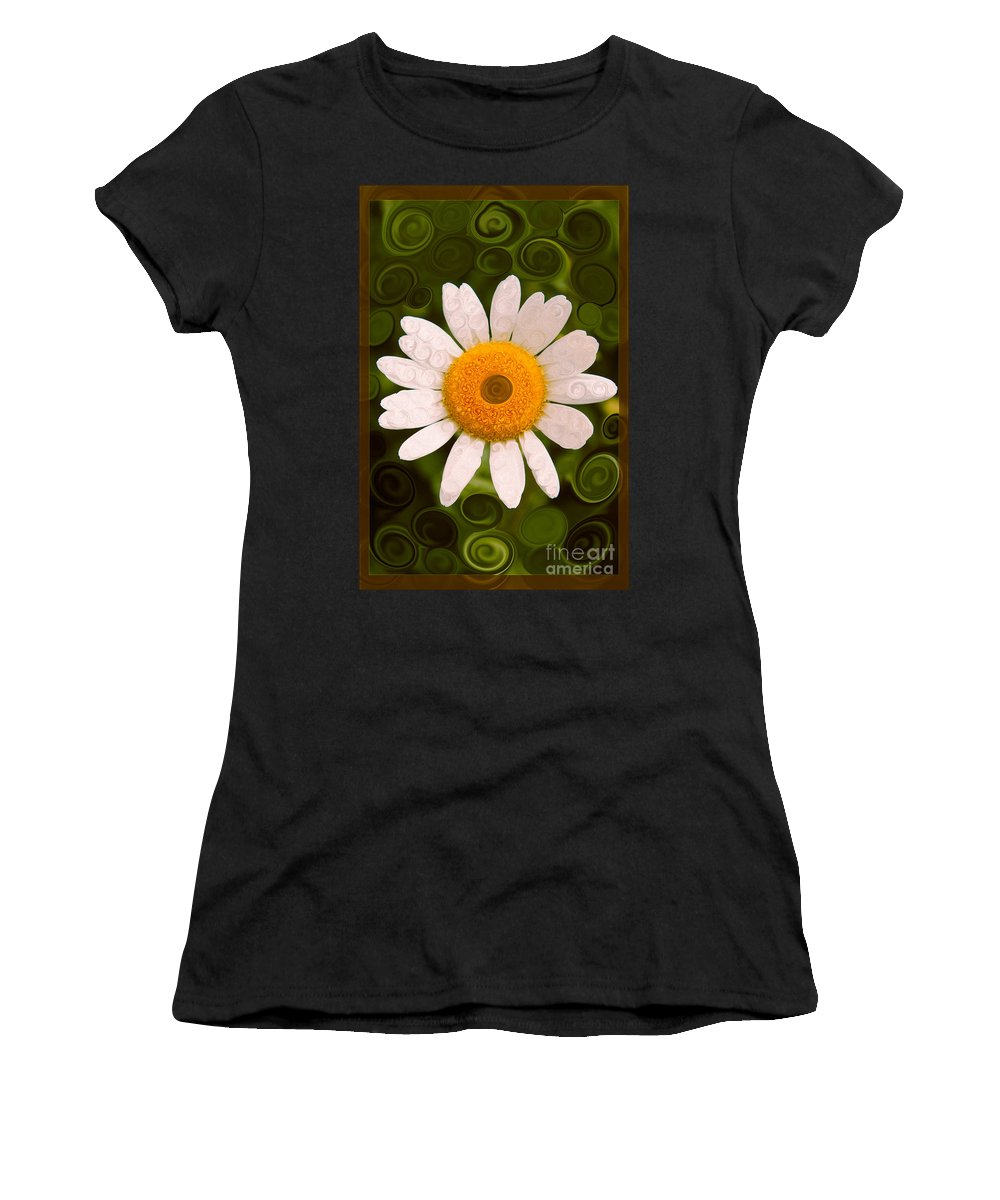 Bright Yellow And White Daisy Flower Abstract Women's T-Shirt featuring the painting Bright Yellow And White Daisy Flower Abstract by Omaste Witkowski