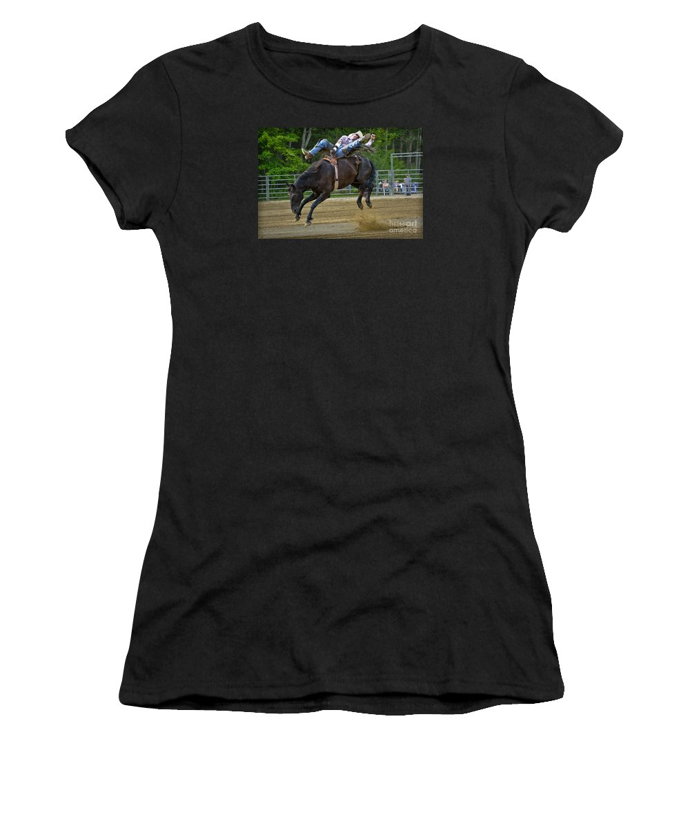 Cowboy Women's T-Shirt featuring the photograph Bronco Cowboy by Gary Keesler