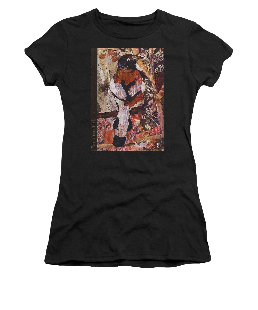 Brown-white-bird Women's T-Shirt (Athletic Fit) featuring the mixed media Brown- White Bird by Basant Soni