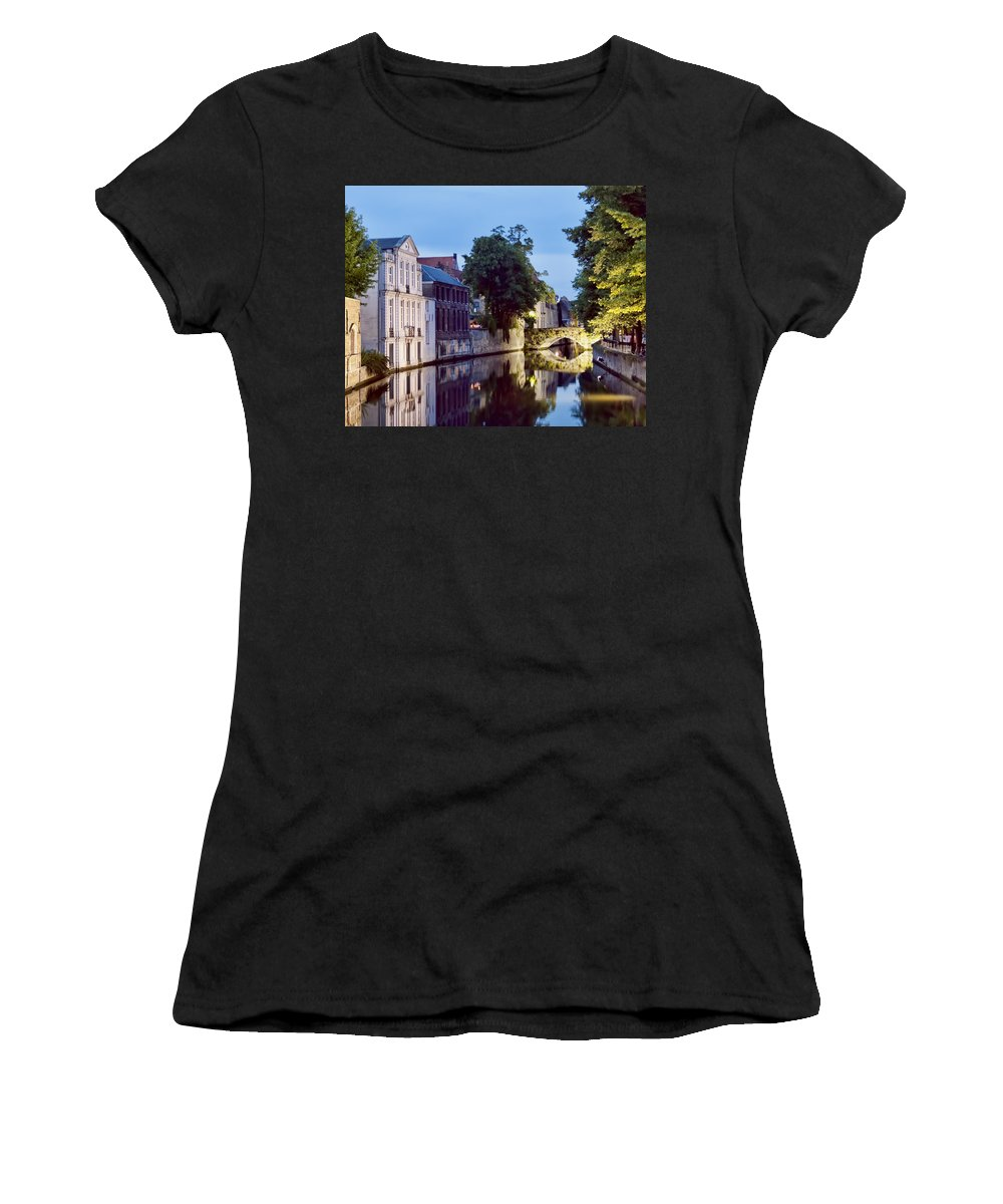 Bruges Canal Bridge Women's T-Shirt (Athletic Fit) featuring the photograph Brudges Canal Bridge by Phyllis Taylor