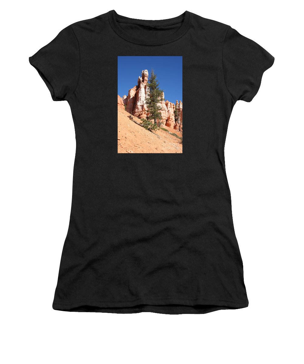 Canyon Women's T-Shirt (Athletic Fit) featuring the photograph Bryce Canyon Red Fins by Christiane Schulze Art And Photography