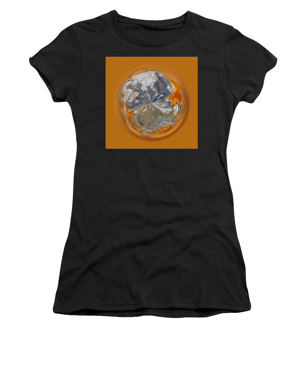 Orb Women's T-Shirt (Athletic Fit) featuring the photograph Bubble Out Of Orange Orb by Brent Dolliver