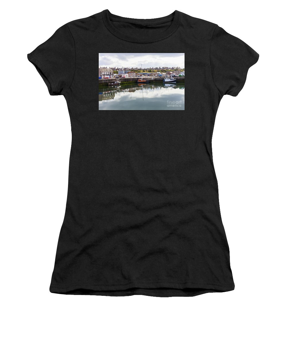 Buckie Women's T-Shirt featuring the photograph Buckie Harbour by Diane Macdonald