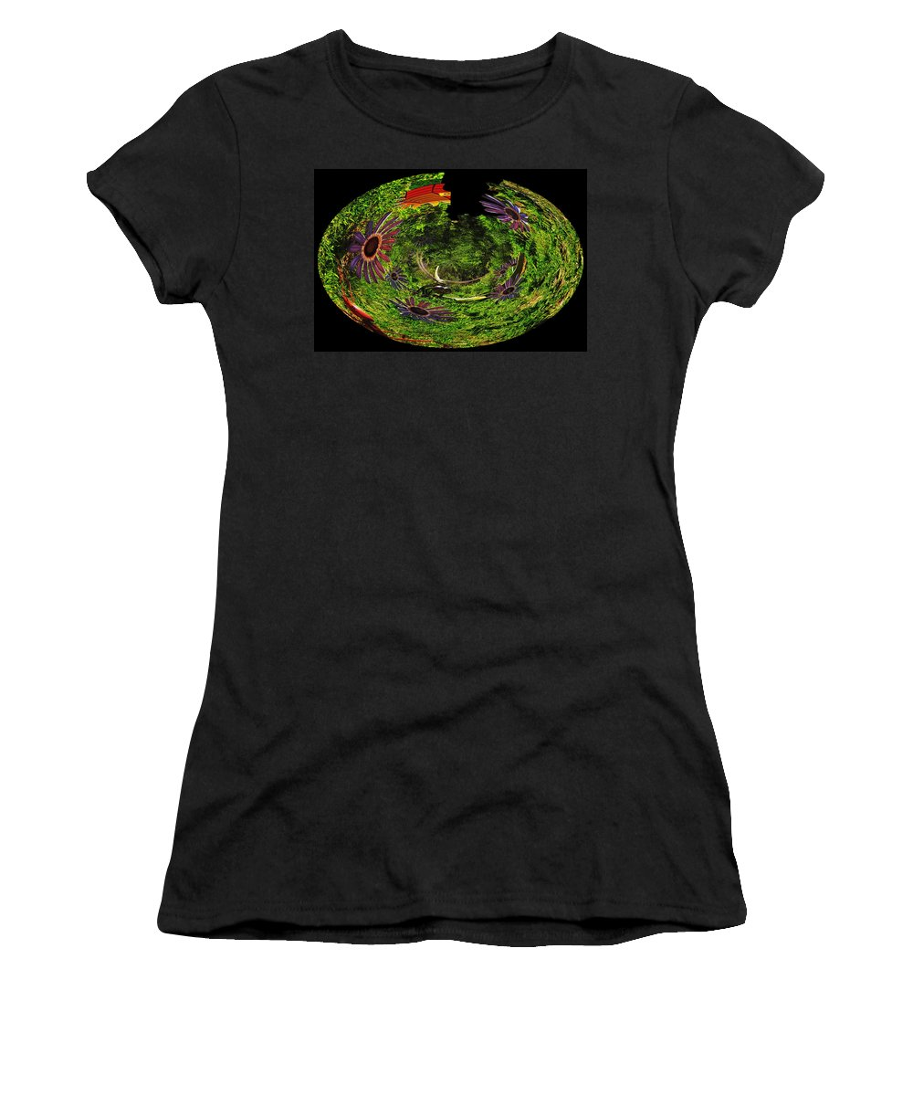 Brookfield Zoo Women's T-Shirt (Athletic Fit) featuring the photograph Bugs At The Zoo Daisies And Dragonfly by Thomas Woolworth