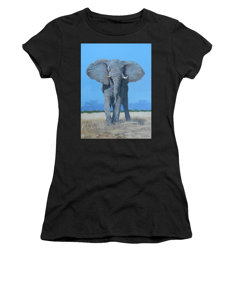 Elephant Women's T-Shirt (Athletic Fit) featuring the painting Bull Elephant by Robert Teeling