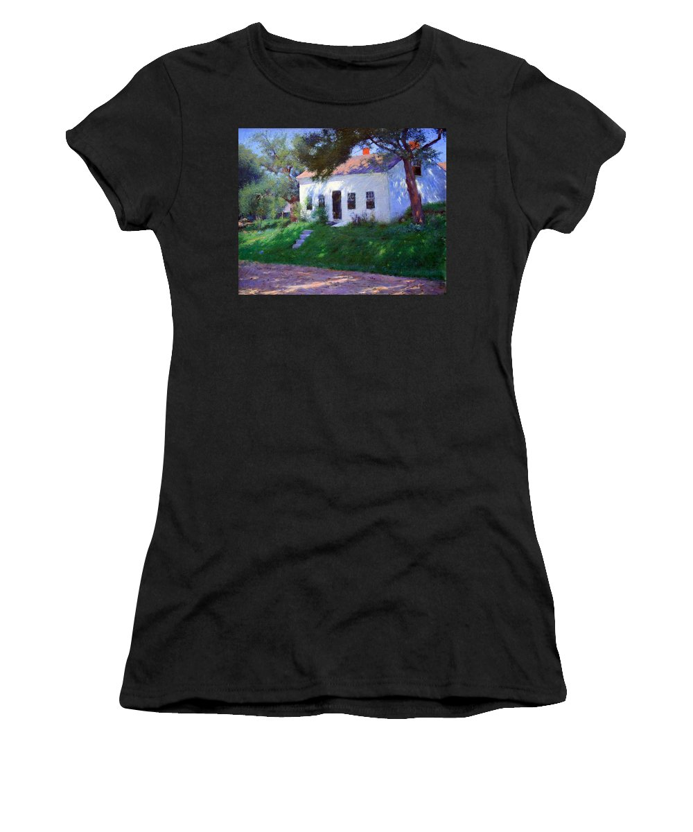 Roadside Cottage Women's T-Shirt (Athletic Fit) featuring the photograph Bunker's Roadside Cottage by Cora Wandel