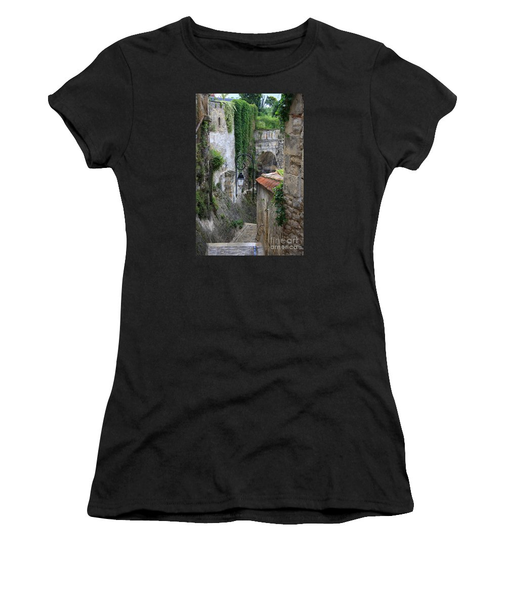 Alley Women's T-Shirt (Athletic Fit) featuring the photograph Burgundy Alley by Christiane Schulze Art And Photography