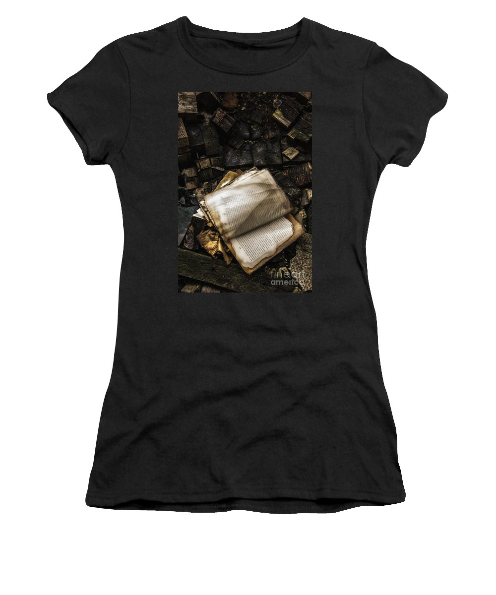 Book Women's T-Shirt featuring the photograph Burning Books by Margie Hurwich