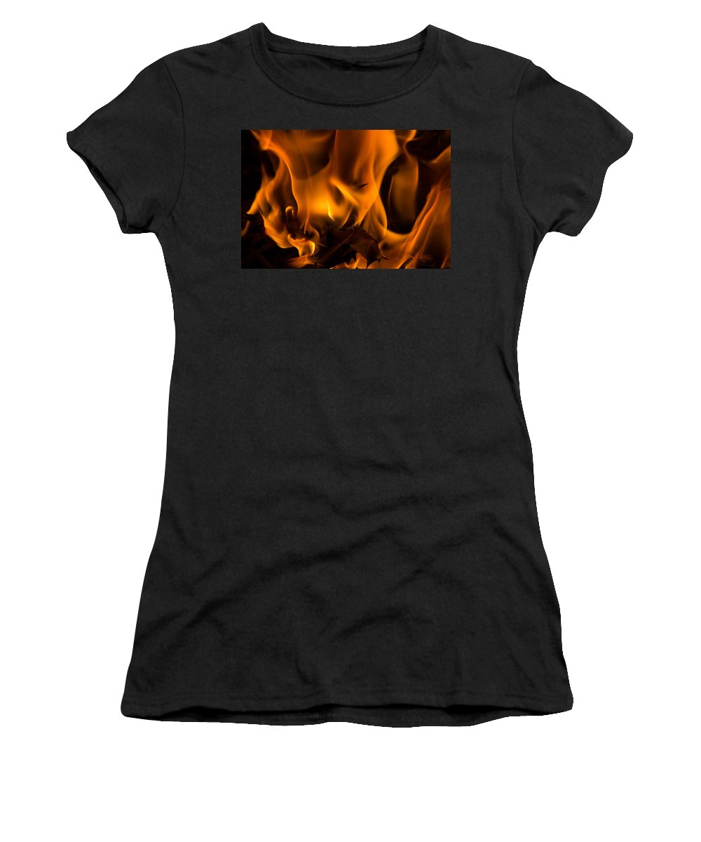 Christmas Women's T-Shirt (Athletic Fit) featuring the photograph Burning Holly by Kathryn Bell