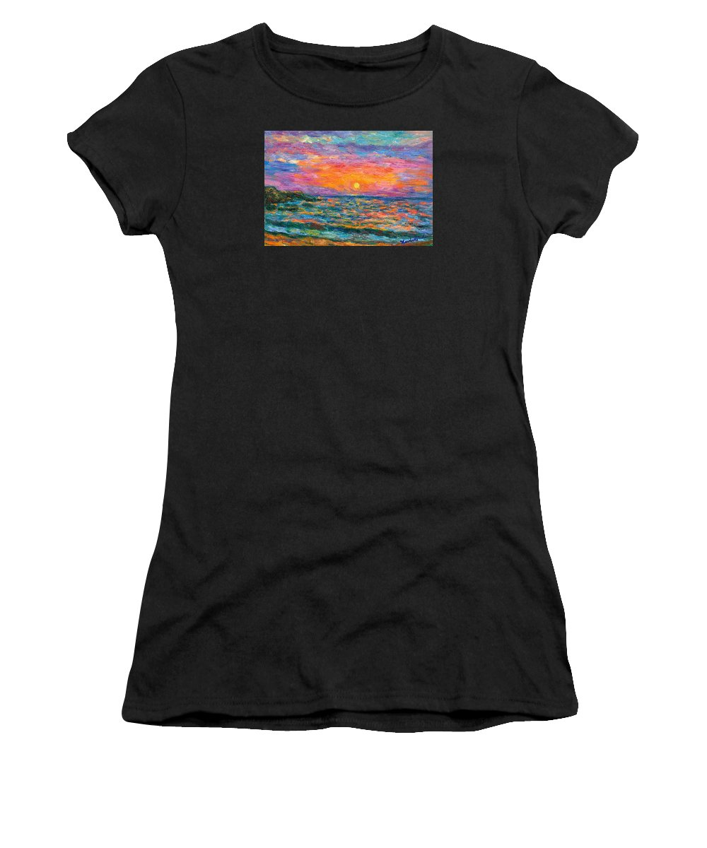 Ocean Women's T-Shirt featuring the painting Burning Shore by Kendall Kessler