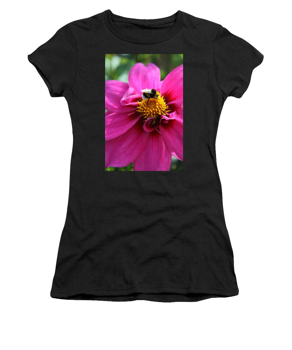 Dahlia Women's T-Shirt featuring the photograph Busy Bumble Bee by Christiane Schulze Art And Photography