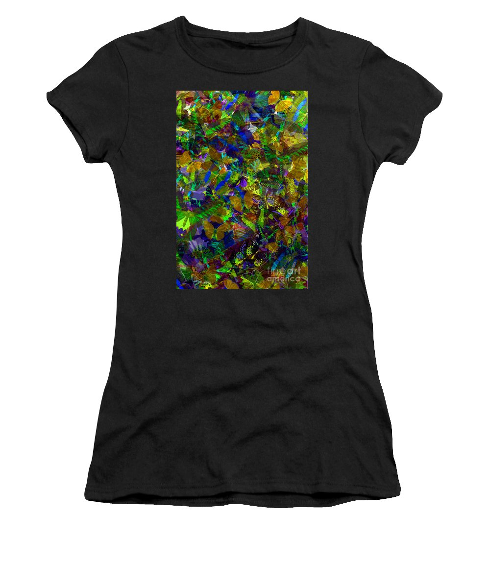 Butterflys Women's T-Shirt featuring the photograph Butterfly Collage Yellow by Robert Meanor