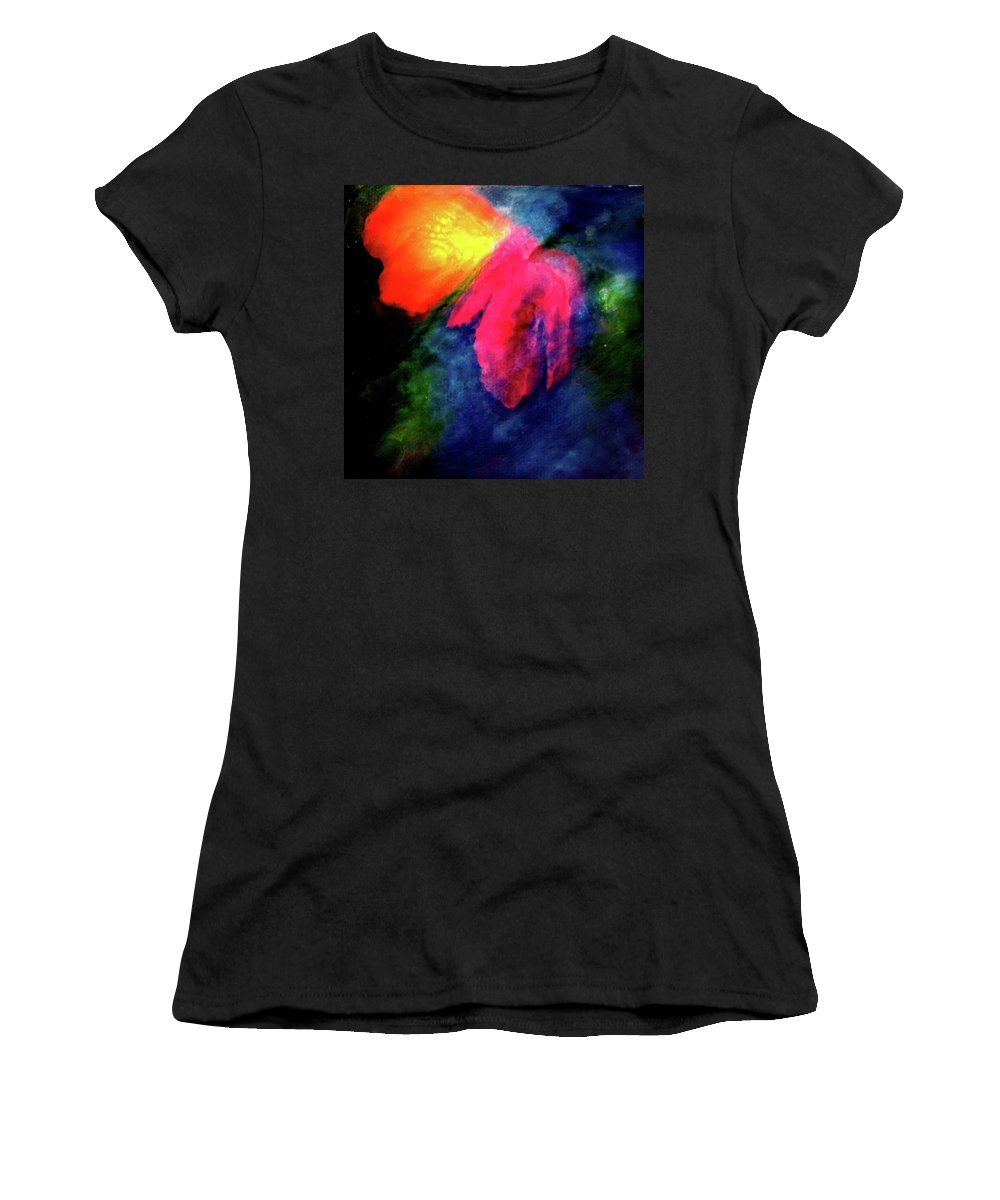 Butterfly Women's T-Shirt (Athletic Fit) featuring the painting Butterfly Glow by Janice Nabors Raiteri