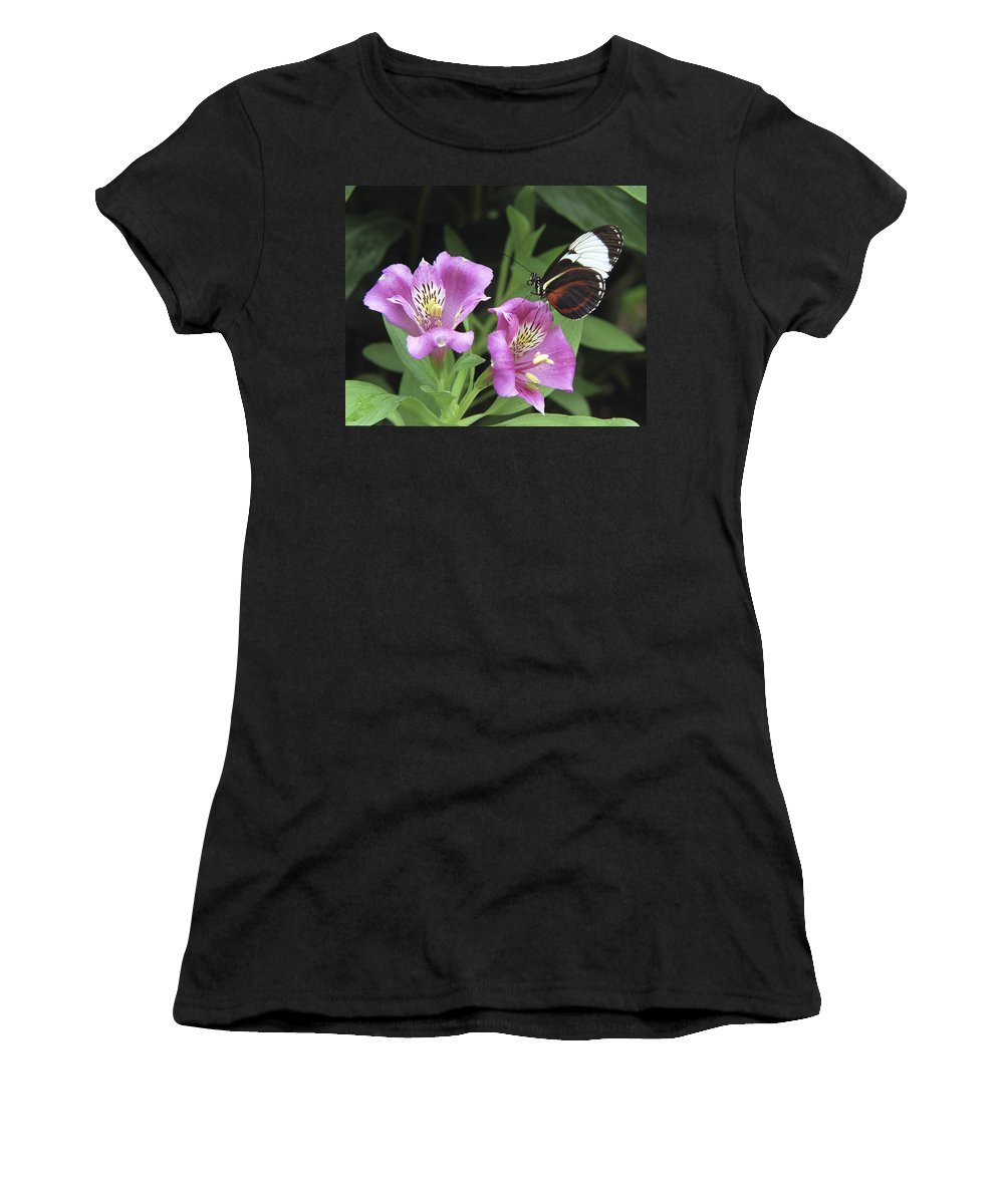 Butterfly Women's T-Shirt (Athletic Fit) featuring the photograph Butterfly On Pink Lillies by Richard Kitchen