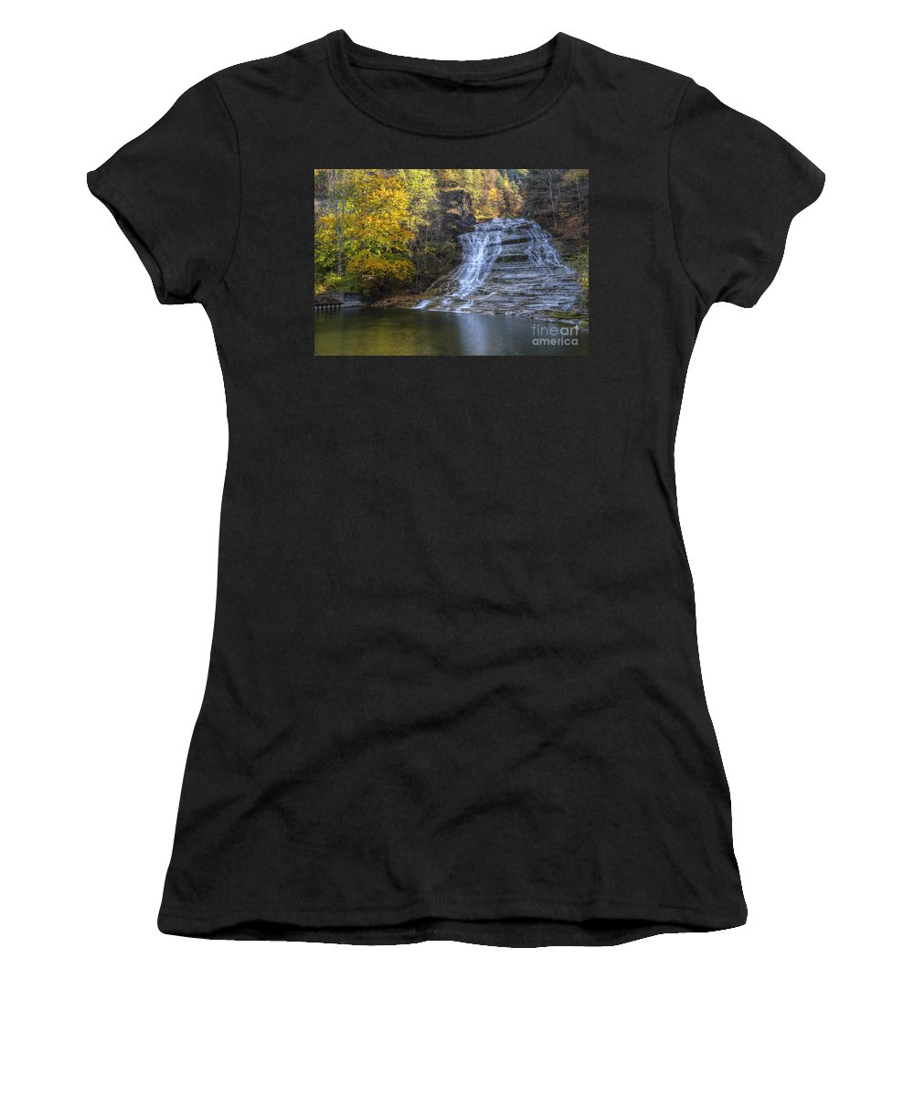 Buttermilk Creek Women's T-Shirt (Athletic Fit) featuring the photograph Buttermilk Falls Autumn by Colin D Young