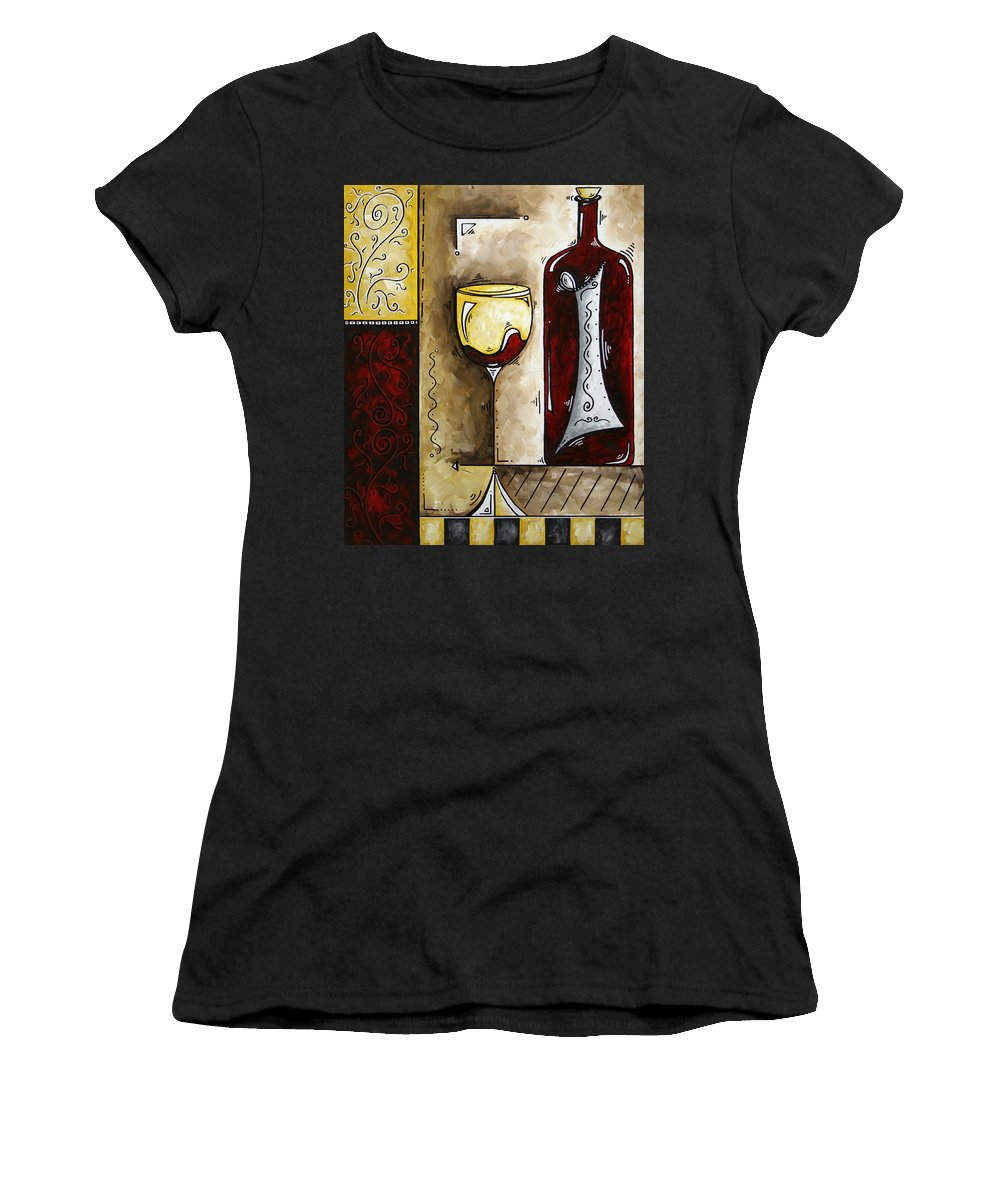 Art Women's T-Shirt (Athletic Fit) featuring the painting By The Fireside Original Madart Painting by Megan Duncanson