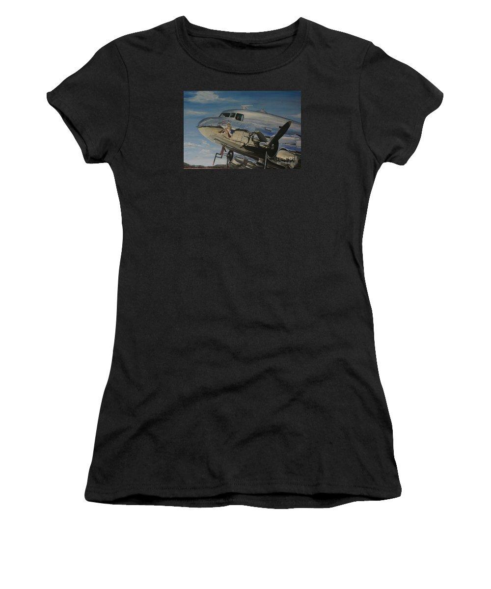 Warbirds Women's T-Shirt featuring the painting C47b Skytrain Bluebonnet Belle Warbird 1944 by Richard John Holden RA