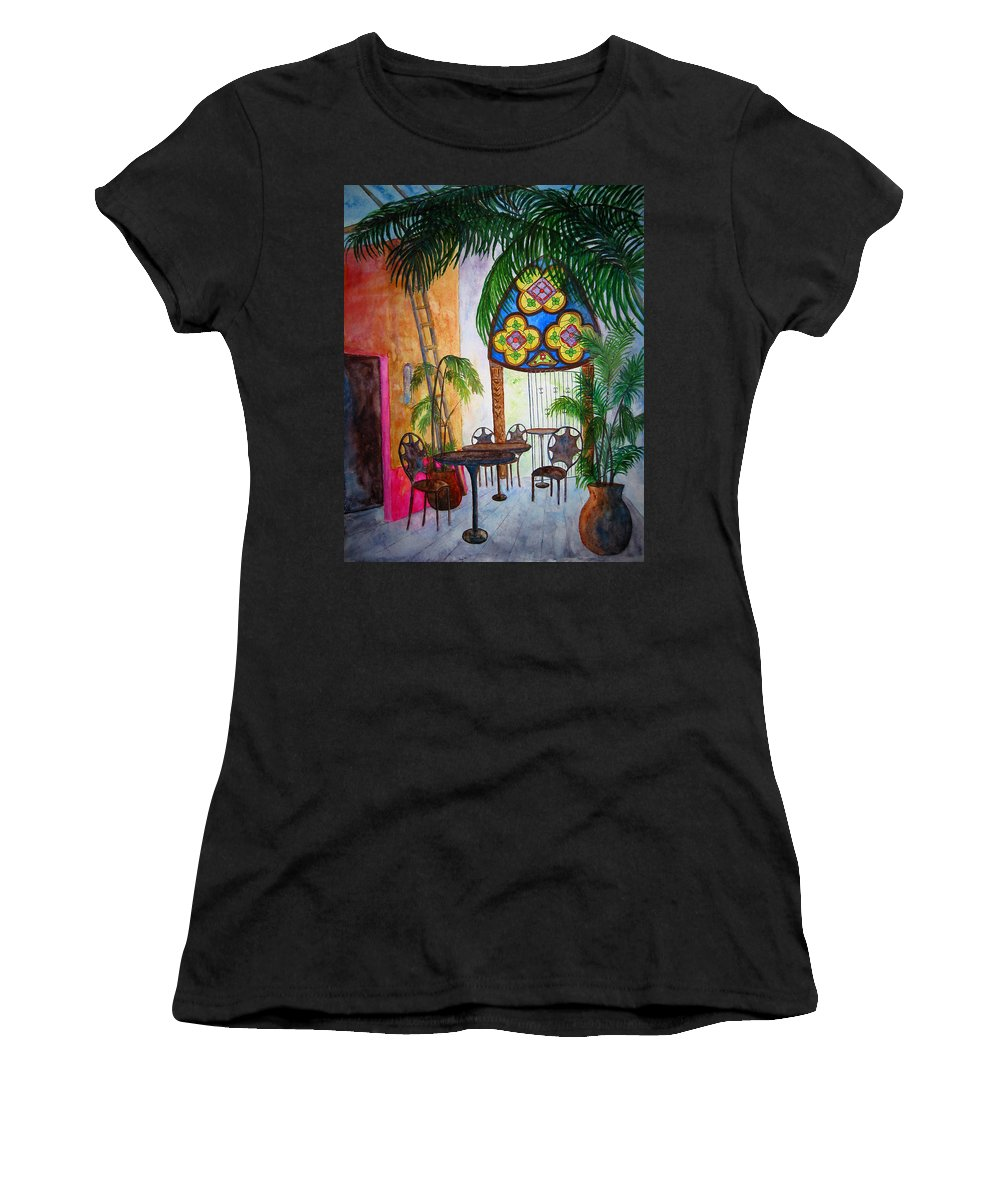 Cabo San Lucas Women's T-Shirt featuring the painting Cabo Cafe by Patricia Beebe