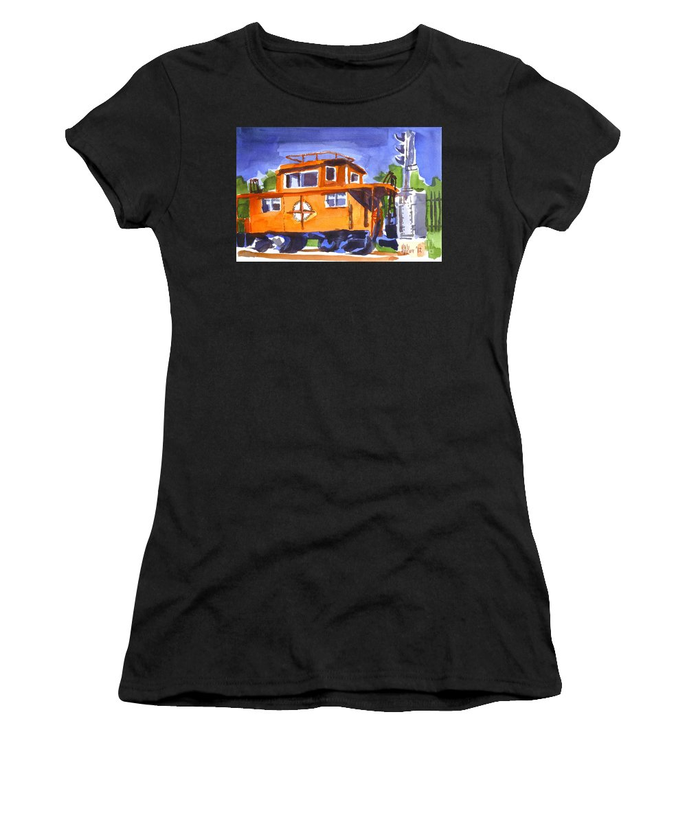 Caboose With Silver Signal Women's T-Shirt (Athletic Fit) featuring the painting Caboose With Silver Signal by Kip DeVore