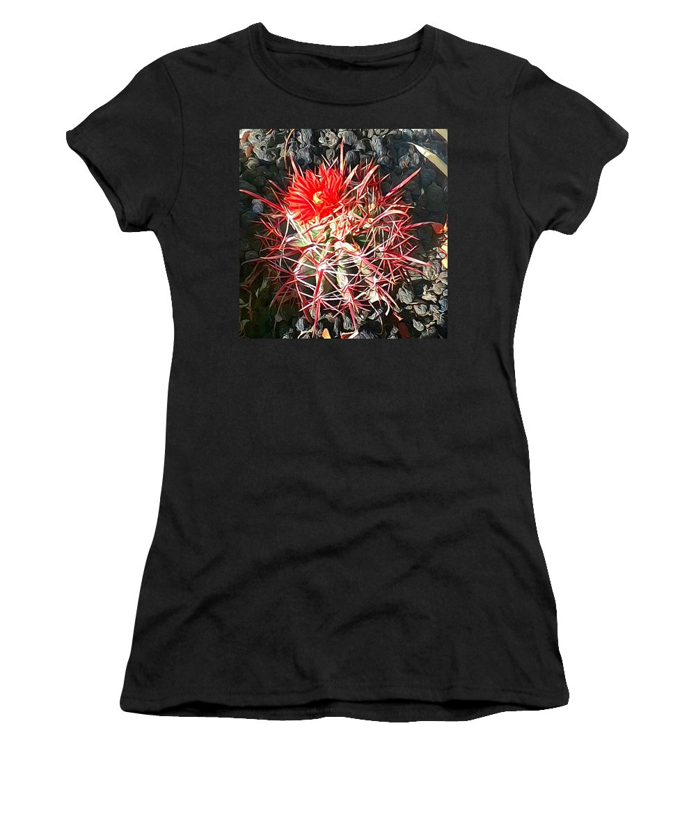 Cactus Women's T-Shirt (Athletic Fit) featuring the photograph Cactus Bloom by Snake Jagger