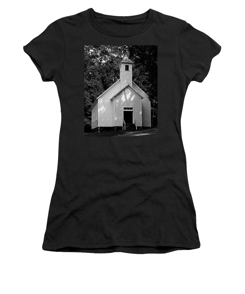Great Smoky Mountains National Park Women's T-Shirt (Athletic Fit) featuring the photograph Cades Cove Missionary Baptist Church by Stephen Stookey