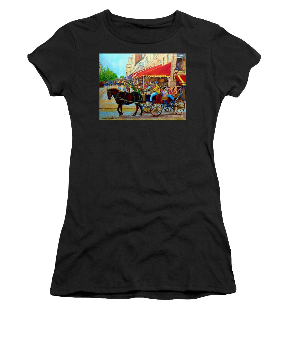 Cafe La Grande Terrasse Women's T-Shirt (Athletic Fit) featuring the painting Cafe La Grande Terrasse by Carole Spandau