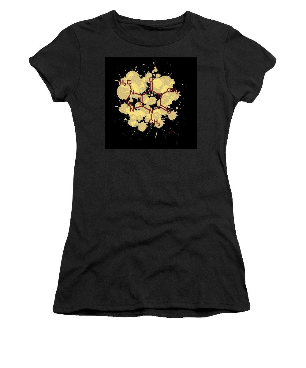 Caffeine Formula Women's T-Shirt featuring the painting Caffeine Formula Digital Art by Georgeta Blanaru