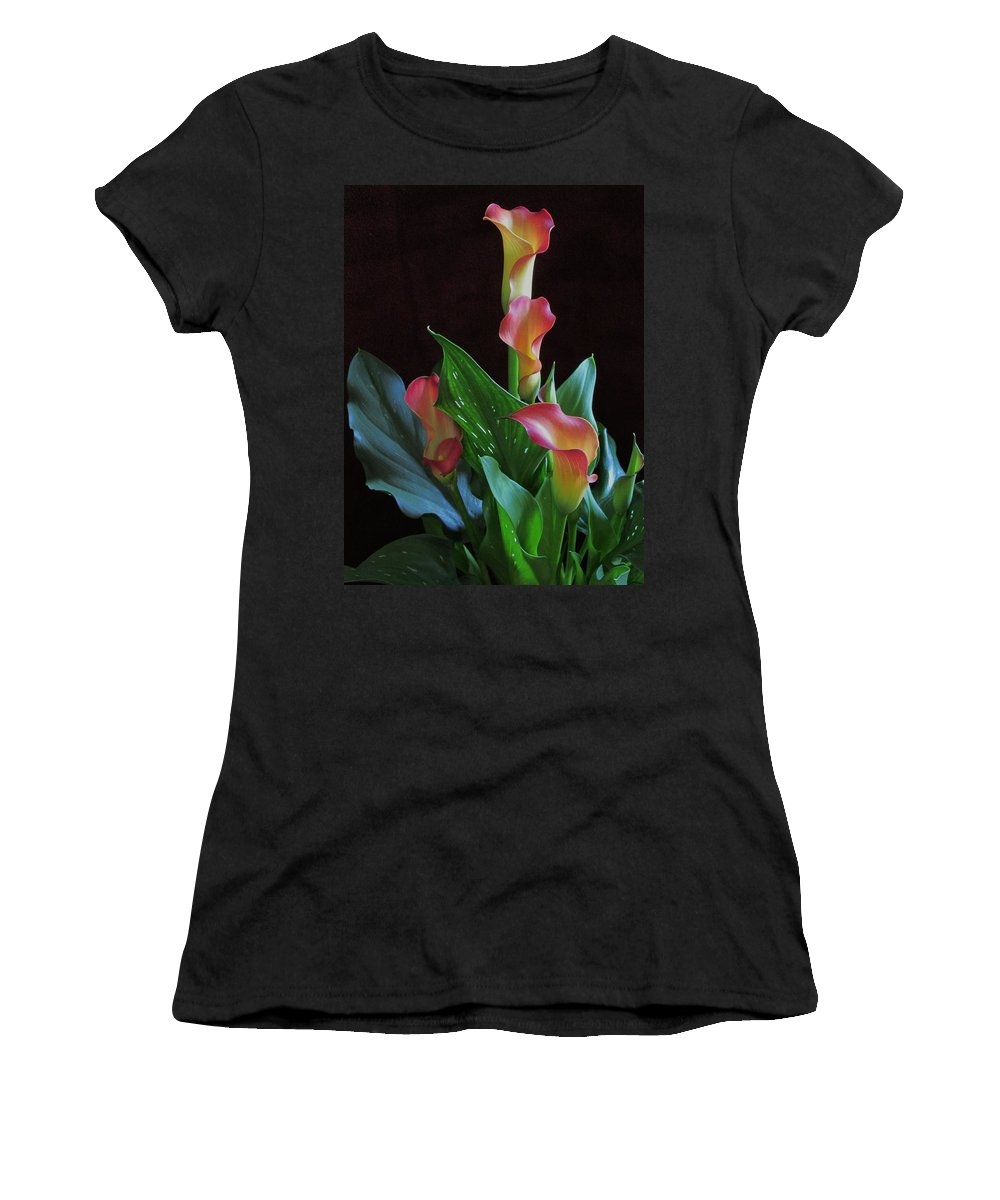 Garden Women's T-Shirt (Athletic Fit) featuring the photograph Calla Lilies 1 by Lynne Miller