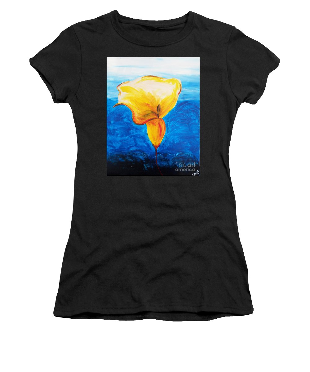 Blue Women's T-Shirt (Athletic Fit) featuring the painting Calla Lily by Kayon Cox