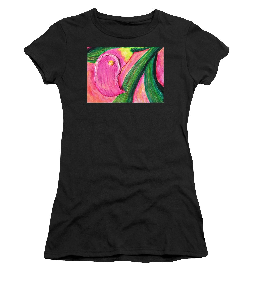 'phoenix Women's T-Shirt featuring the painting Calla Lily by Phoenix The Moody Artist