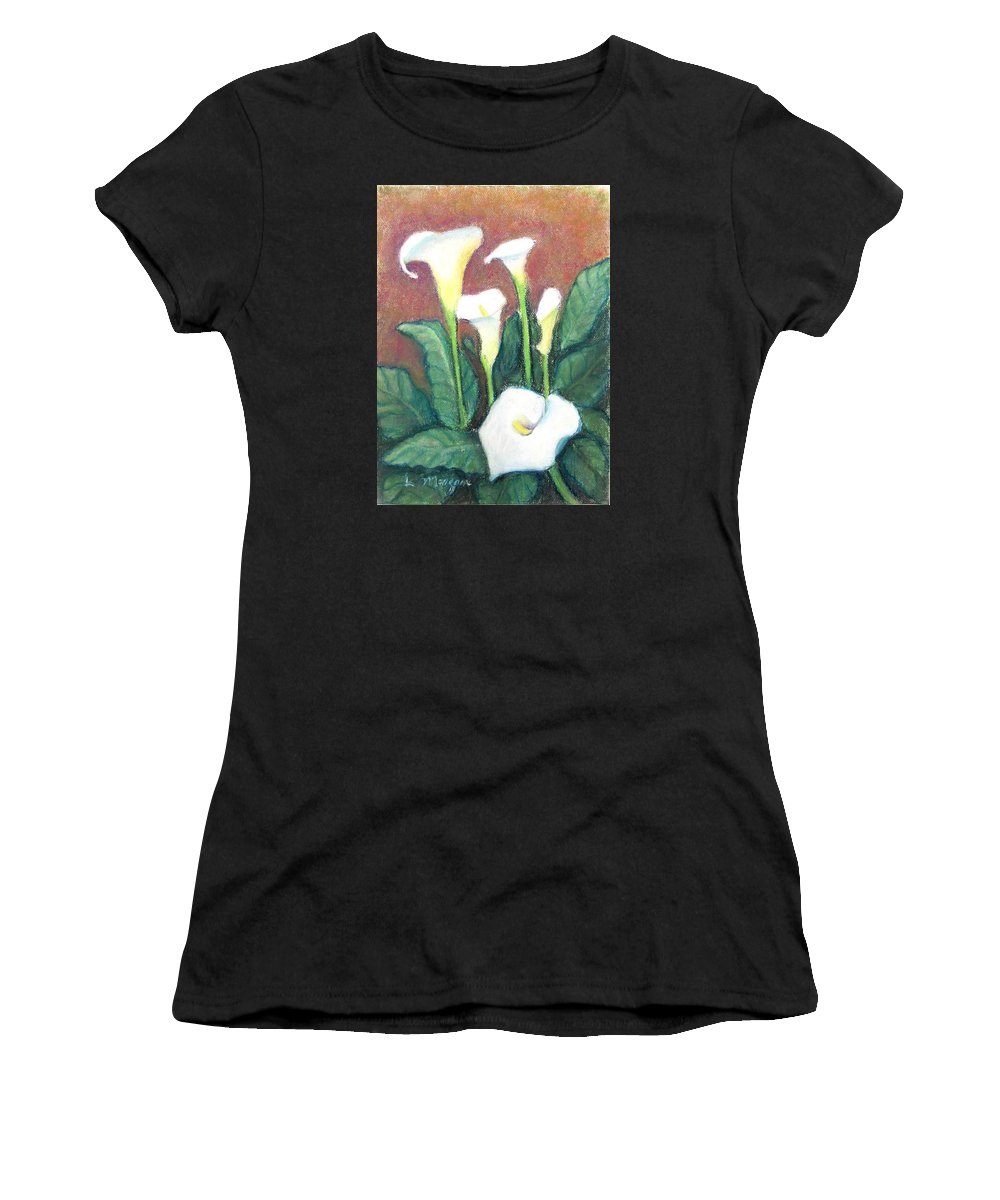 Calla Lily Women's T-Shirt featuring the painting Calla Quintet by Laurie Morgan