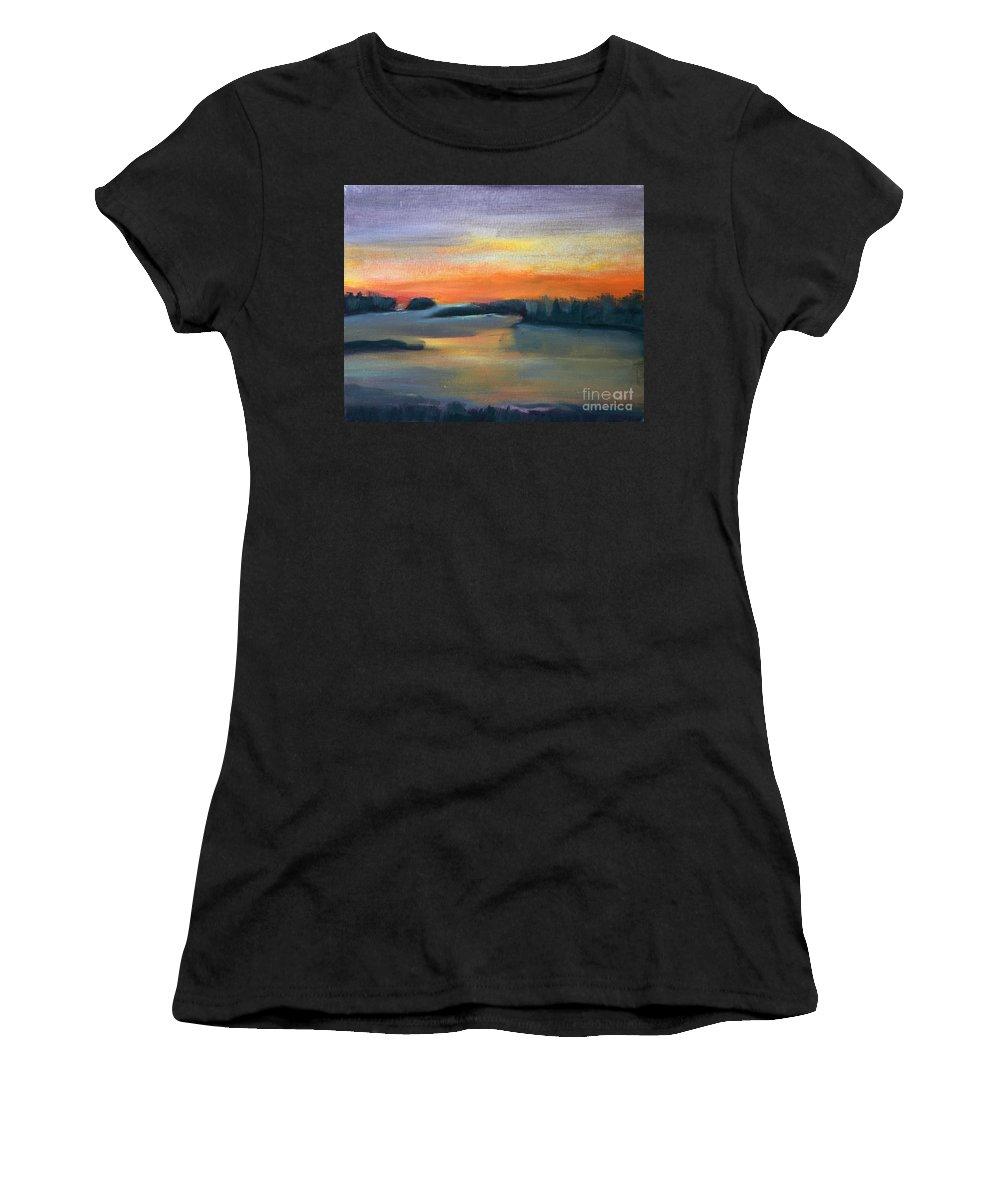 Calm Women's T-Shirt featuring the painting Calm Evening by Sean Hughes