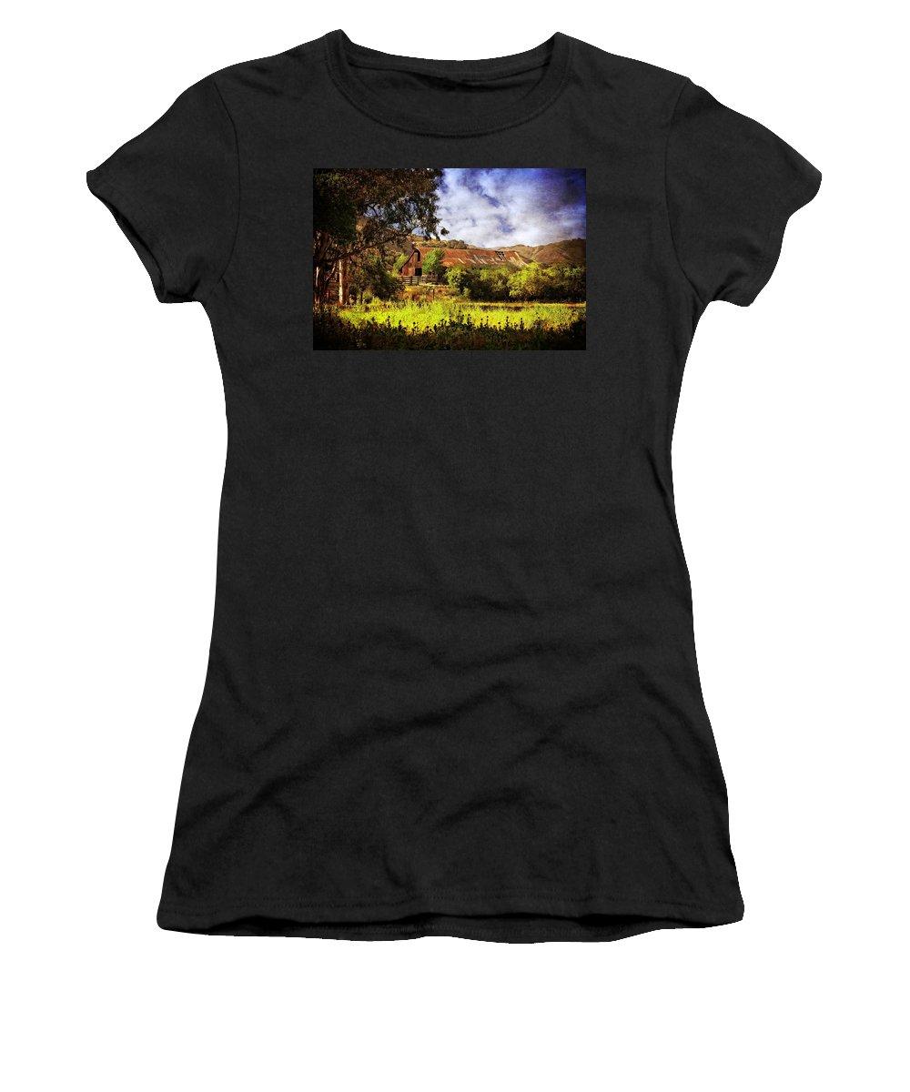 Ca Women's T-Shirt featuring the photograph Cambria Farmland by Lynn Bauer
