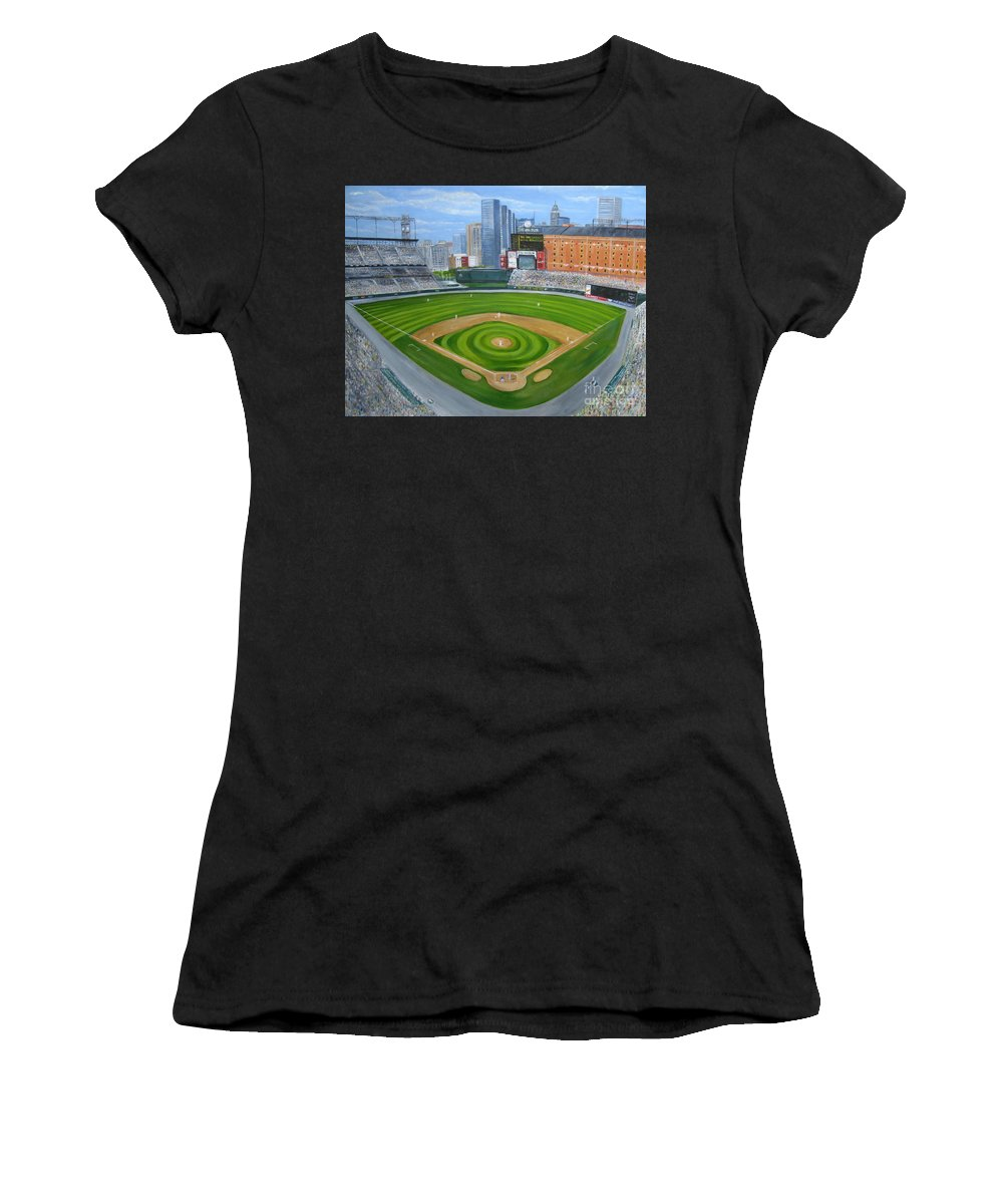 Camden Yards Women's T-Shirt (Athletic Fit) featuring the painting Camden Yards by Laura Corebello