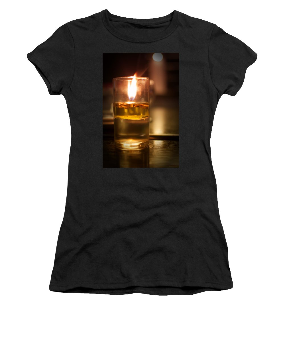Candle Women's T-Shirt (Athletic Fit) featuring the photograph Candle Light by Miguel Winterpacht