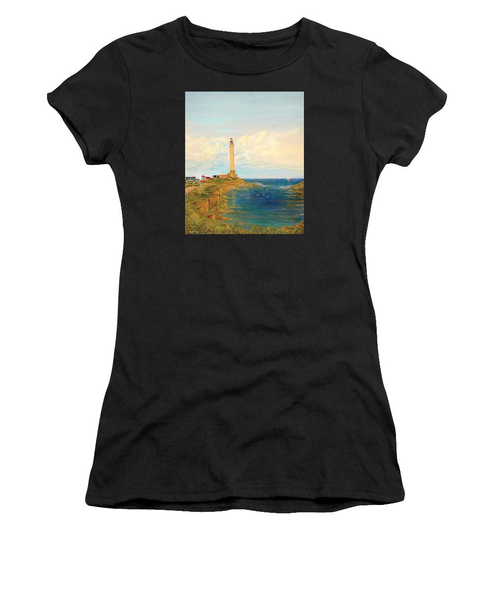Lighthouse Women's T-Shirt (Athletic Fit) featuring the painting Candlestick Bay by Robert Wright