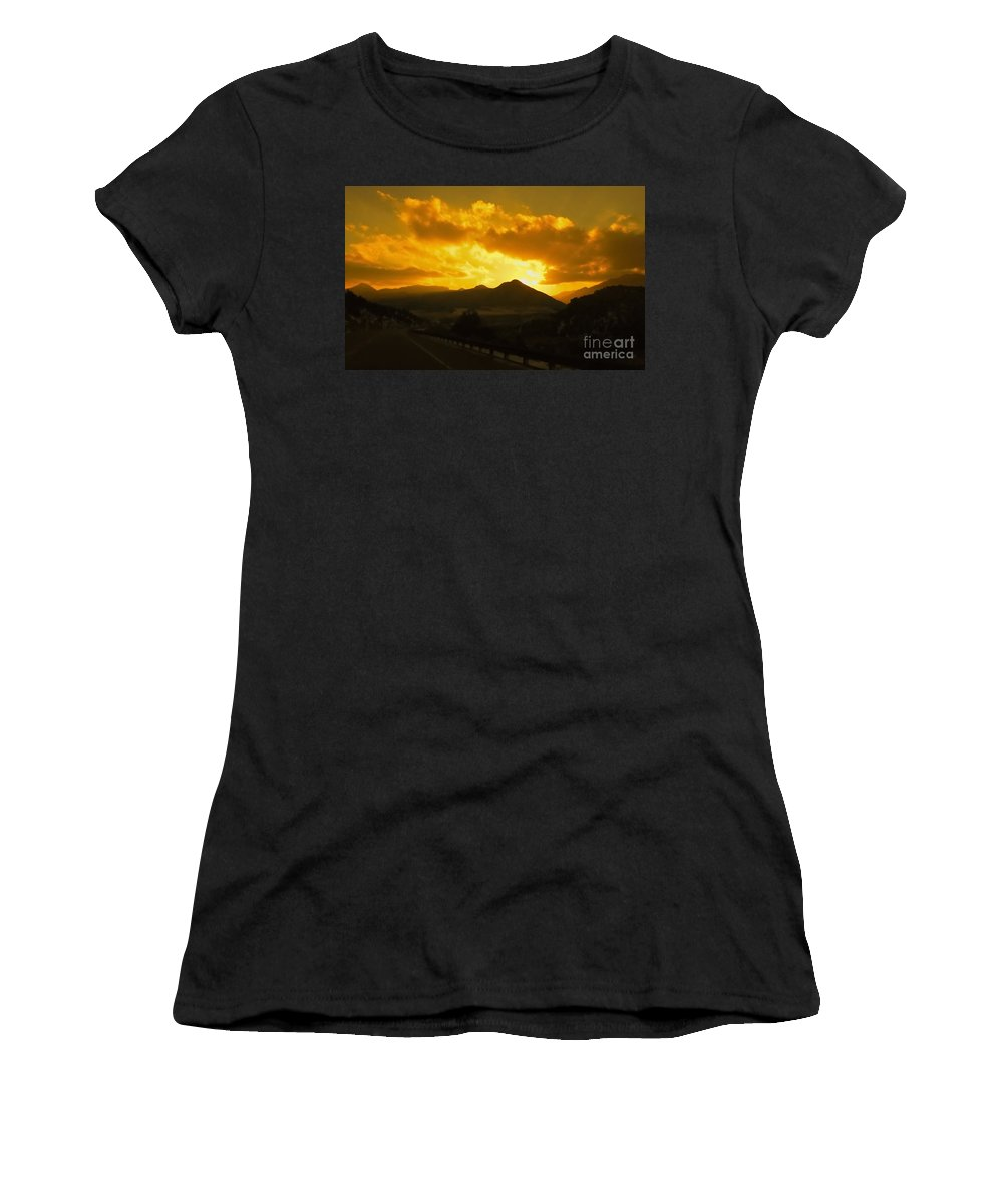 Color Photo Women's T-Shirt (Athletic Fit) featuring the digital art Canon City Sunset by Tim Richards