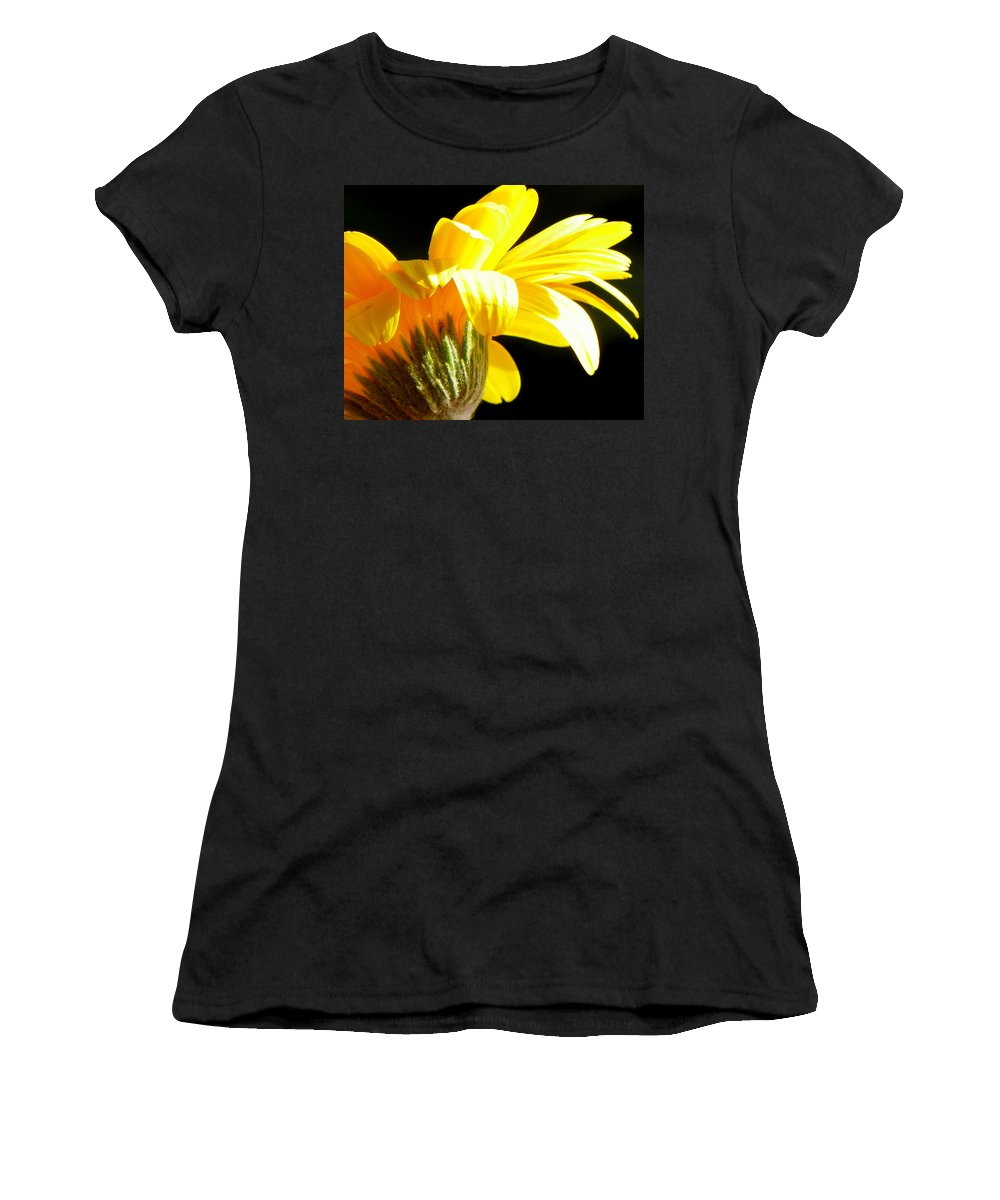 Yellow Flowers Women's T-Shirt (Athletic Fit) featuring the photograph Canopy Of Petals by Karen Wiles