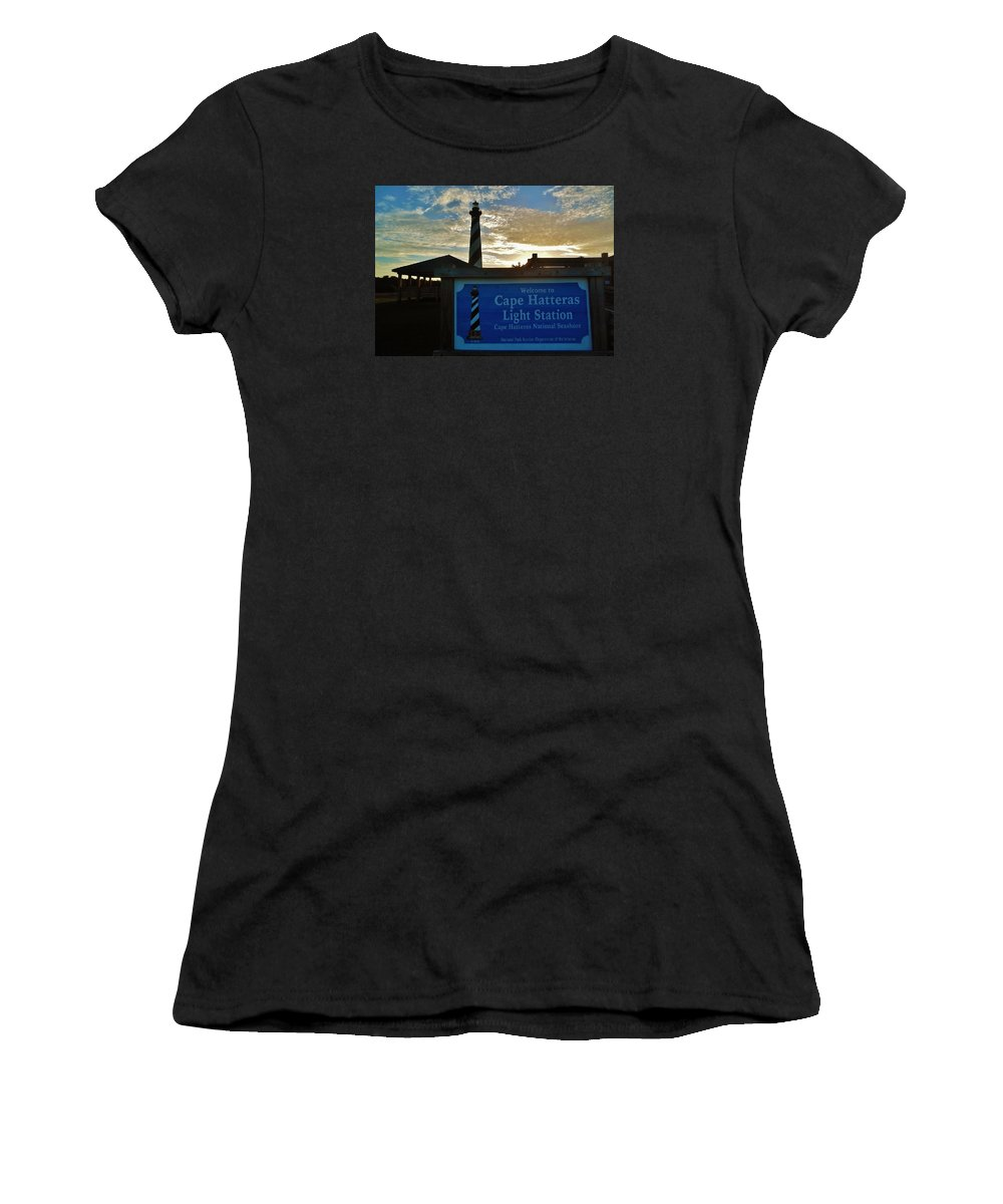 Mark Lemmon Cape Hatteras Nc The Outer Banks Photographer Subjects From Sunrise Women's T-Shirt featuring the photograph Cape Hatteras Lighthouse 2 11/05 by Mark Lemmon