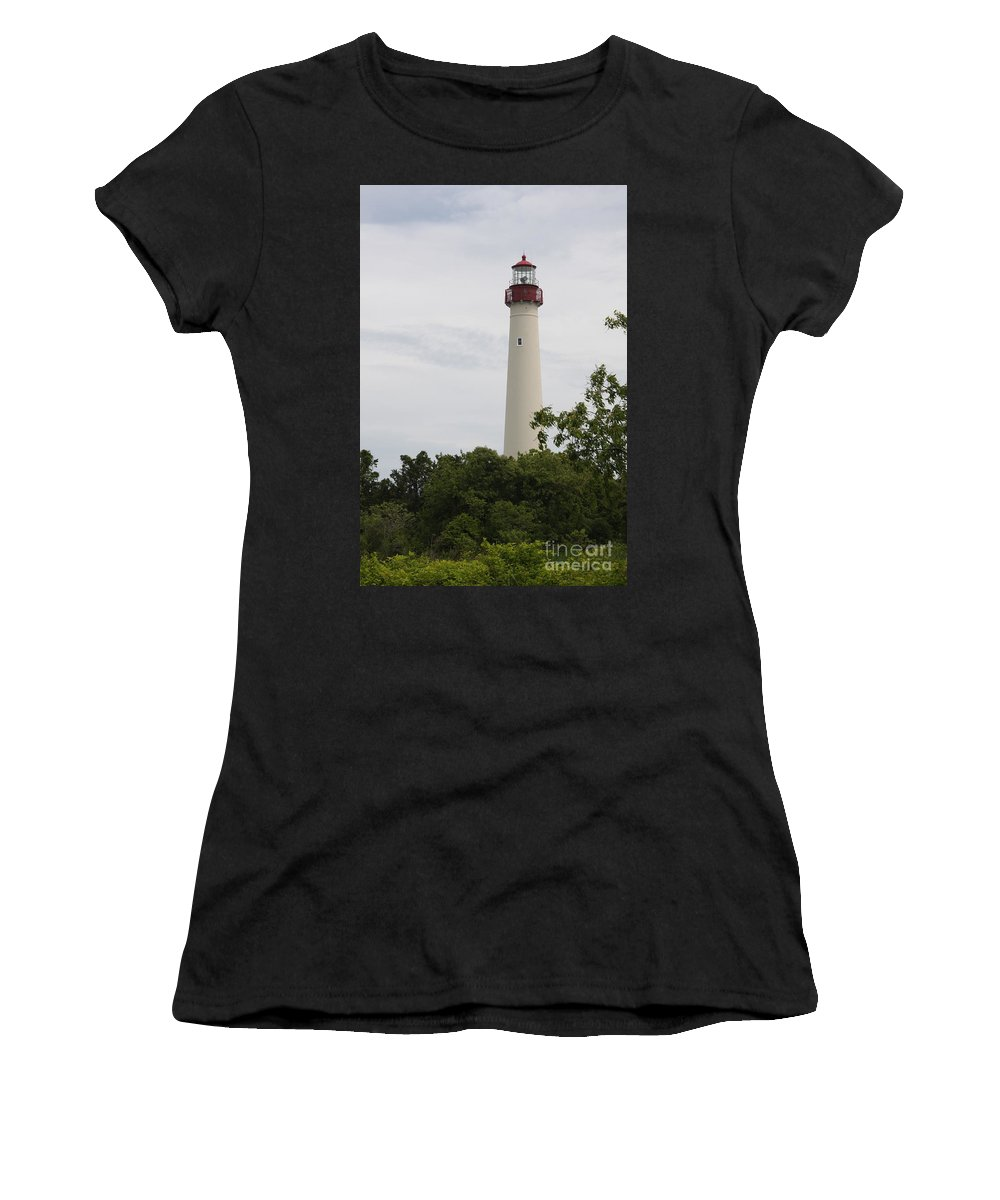 Lighthouse Women's T-Shirt (Athletic Fit) featuring the photograph Cape May Lighthouse II by Christiane Schulze Art And Photography