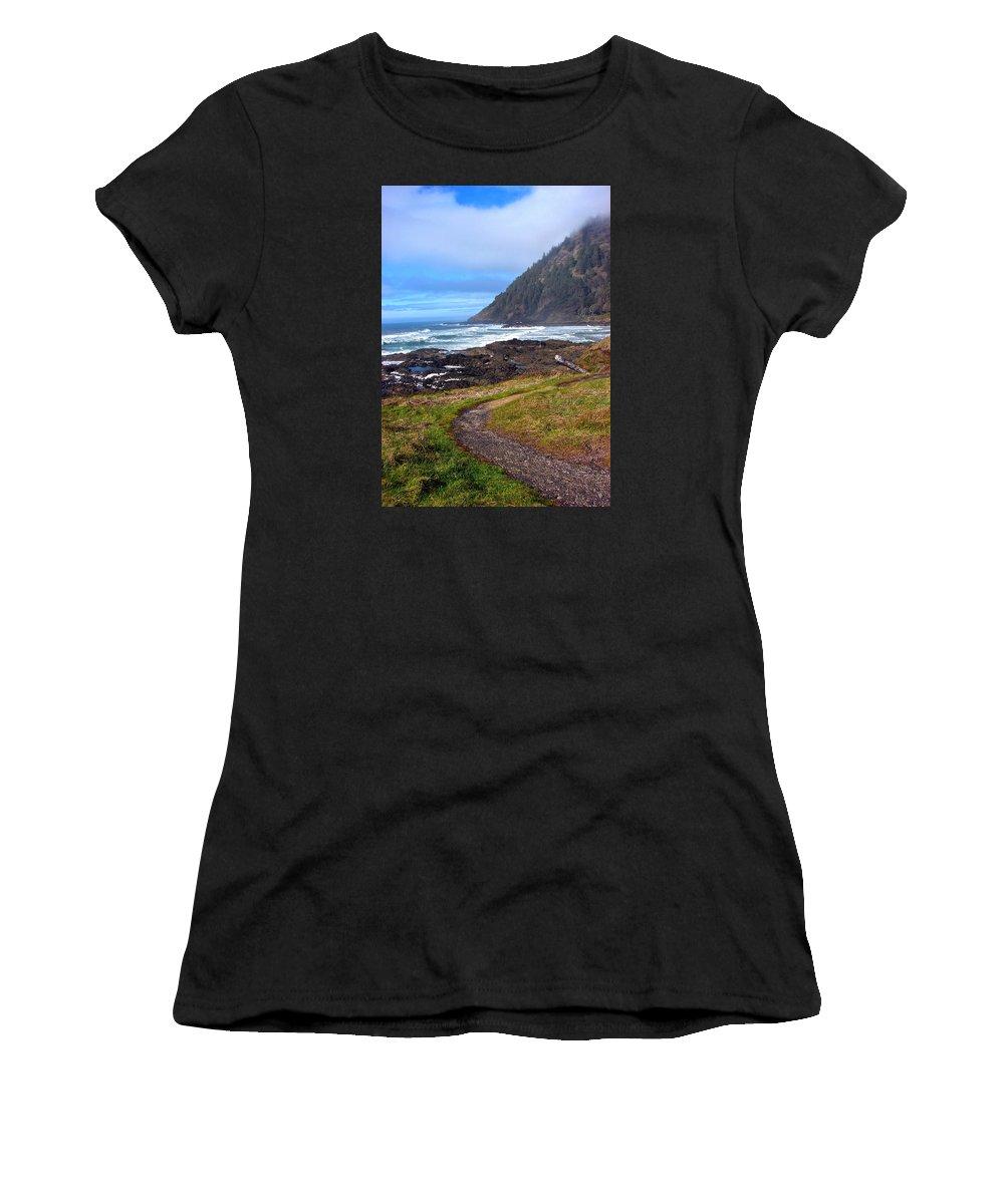 Cape Perpetua Women's T-Shirt (Athletic Fit) featuring the digital art Cape Perpetua Path by Gary Olsen-Hasek