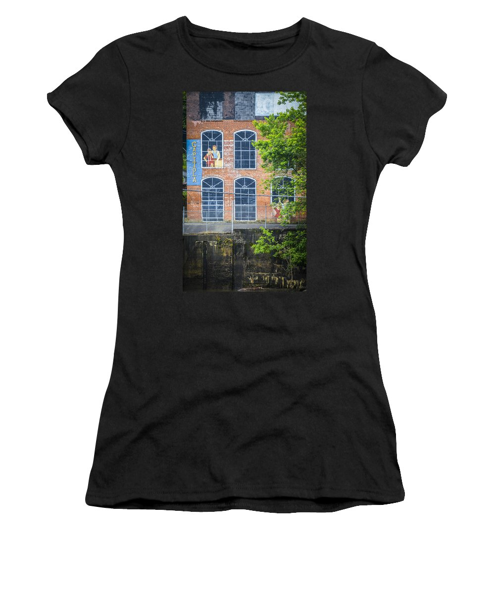 Capitola Manufacturing Company Women's T-Shirt featuring the photograph Capitola Cotton Yarn Mill by Carolyn Marshall