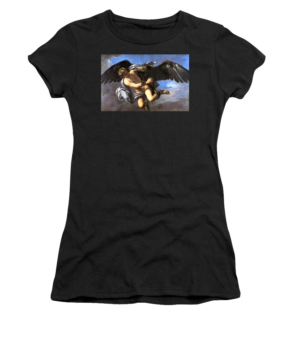 Capture Women's T-Shirt (Athletic Fit) featuring the painting Capture Of Ganymede by Anton Domenico Gabbiani