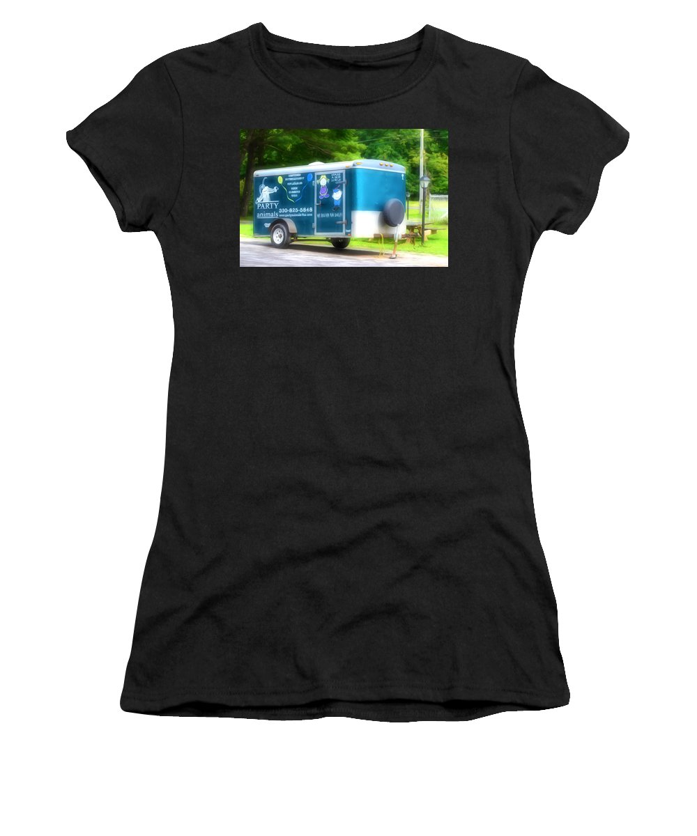 Aluminum Trailer Women's T-Shirt (Athletic Fit) featuring the painting Cargo Trailer by Jeelan Clark